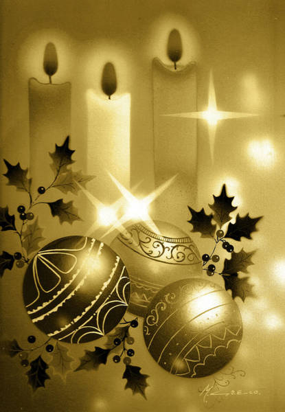 Christmas Balls And Candles Black And Gold Art Print