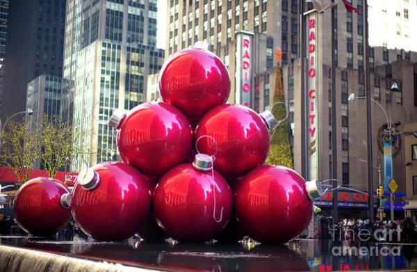 Photograph - Christmas Balls At Rockefeller Center New York City by John Rizzuto