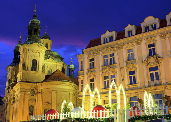 Photograph - Christmas Balls In Old Town Square Prague by John Rizzuto