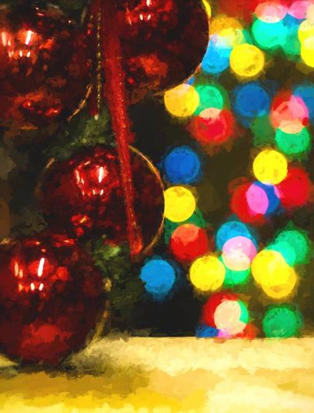 Photograph - Christmas Baubles And Multicolored Blurred Lights by John Williams