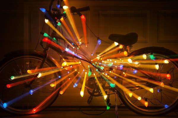 Christmas Lights Photograph - Christmas Bike Abstract by Garry Gay