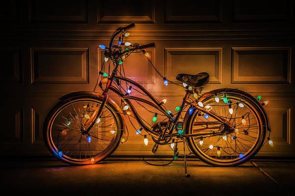 Christmas Lights Photograph - Christmas Bike by Garry Gay