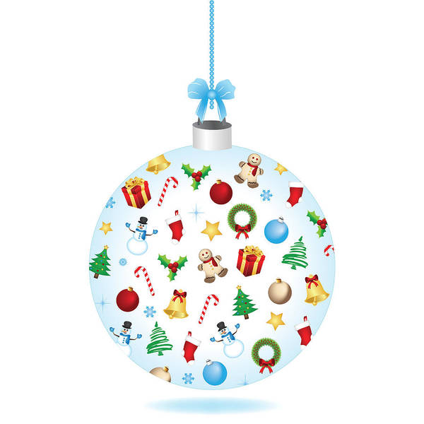 Bauble Digital Art - Christmas Bulb Art And Greeting Card by Serena King