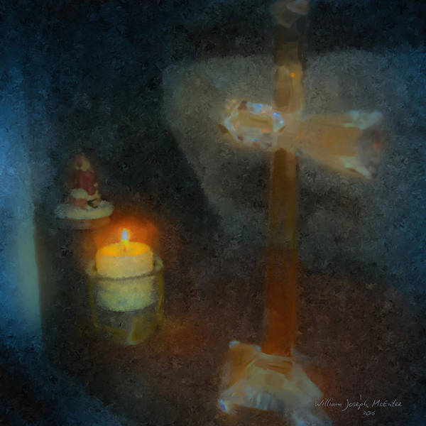 Painting - Christmas Candle In Window by Bill McEntee