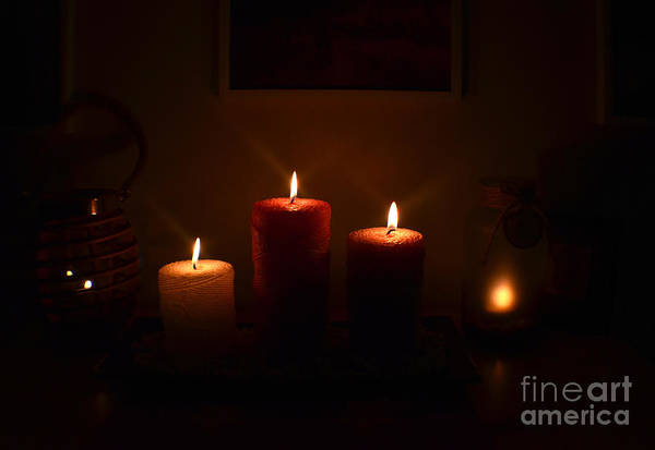 Photograph - Christmas Candles In The Night Number 5 by Christopher Shellhammer