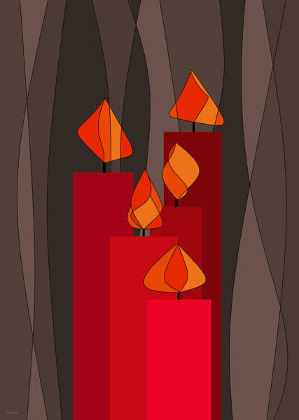 Digital Art - Five Red Candles by Val Arie