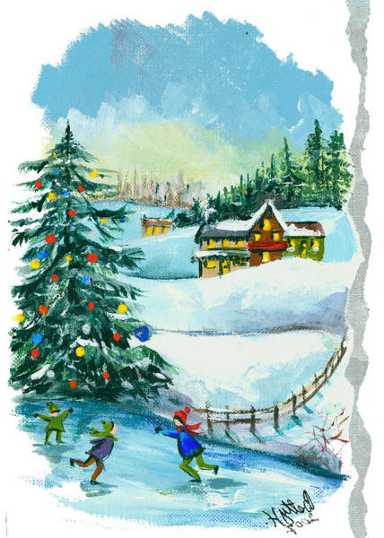 Wall Art - Painting - Christmas Card - Winter by Elisabeta Hermann