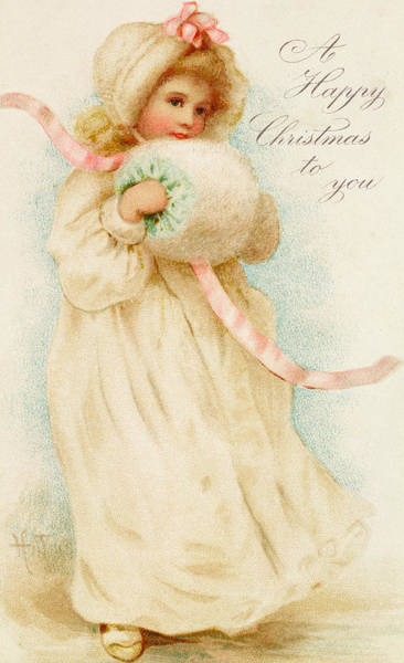 Girly Painting - Christmas Card Depicting A Girl With A Muff by English School