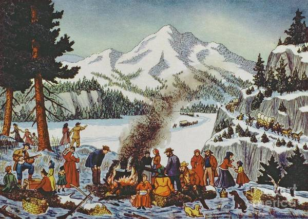 Pioneer Mountains Wall Art - Painting - Christmas Card Depicting A Pioneer Christmas by American School