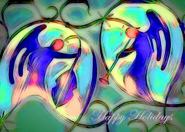 Digital Art - Christmas Card - Rocking Angels by Pennie McCracken