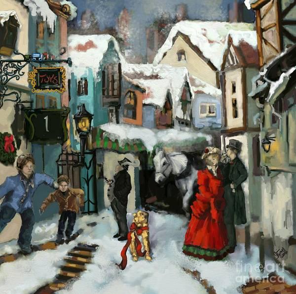 Yule Tide Painting - Christmas Carol 1 by Carrie Joy Byrnes