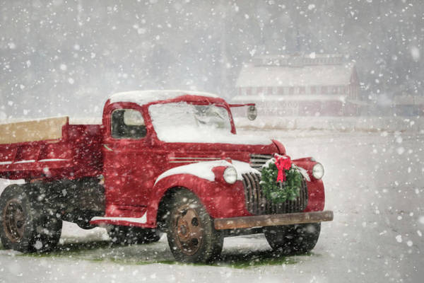 Pick Up Truck Photograph - Christmas Chevy by Lori Deiter