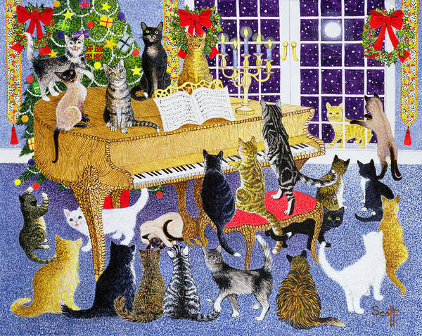 Wall Art - Painting - Christmas Chorus by Pat Scott