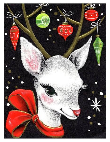Deer Mixed Media - Christmas Decorated Deer by Long Shot