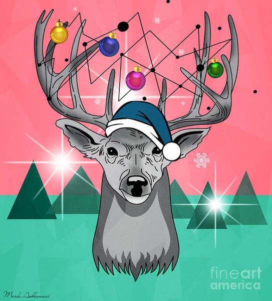 Christmas Card Painting - Christmas Deer by Mark Ashkenazi