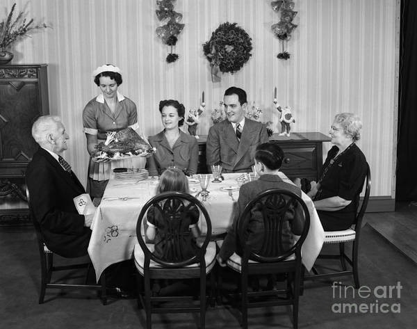 Elder Care Photograph - Christmas Dinner, C.1940s by H. Armstrong Roberts/ClassicStock