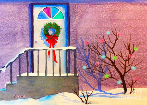 Joyous Mixed Media - Christmas Door by Teresa Ascone