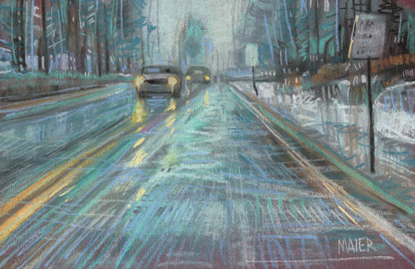 Automobile Drawing - Christmas Drive by Donald Maier