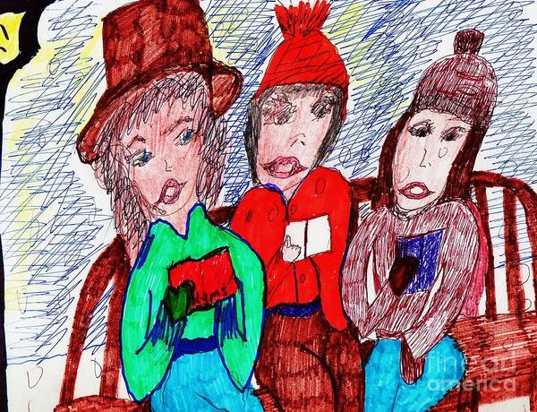 Park Bench Mixed Media - Christmas Eve In The Park by Elinor Helen Rakowski