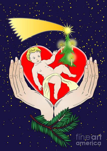 Yule Digital Art - Christmas Eve- Nativity by Michal Boubin