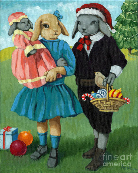 Wall Art - Painting - Christmas Greetings From Appletree Hollow - Animal Art by Linda Apple