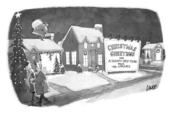 Winter Drawing - Christmas Greetings From The Applebys by Claude Smith