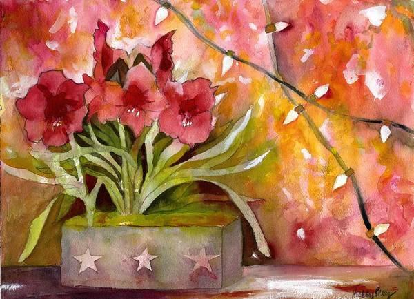 Red Amaryllis Painting - Christmas Holiday Amaryllis by Kelly Perez