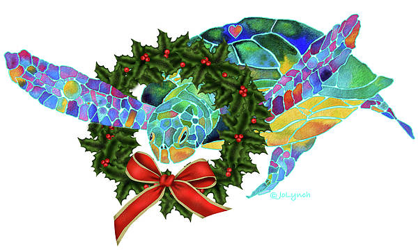 Painting - Christmas Holiday Sea Turtle by Jo Lynch