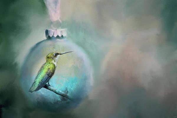 Painting - Christmas Hummingbird by Jai Johnson