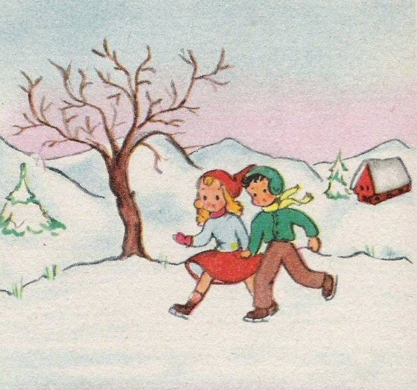 Love In The Afternoon Painting - Christmas Illustration 30 - Little Kids Playing In The Winter Snow by TUSCAN Afternoon