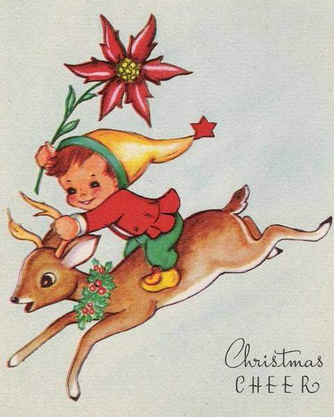 Love In The Afternoon Painting - Christmas Illustration 31 - Little Kid On A Deer by TUSCAN Afternoon