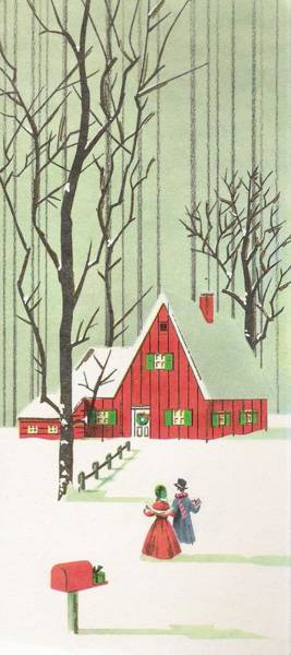 Love In The Afternoon Painting - Christmas Illustration 336 - Vintage Christmas Cards - Snowy Cottage In The Woods by TUSCAN Afternoon