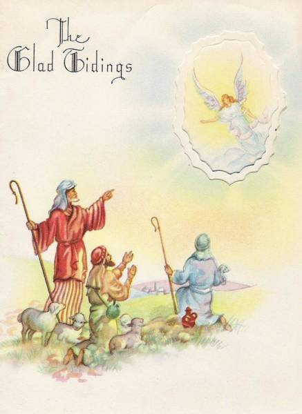 Love In The Afternoon Painting - Christmas Illustration 628 - Shepherds Bowing Before An Angel In The Sky by TUSCAN Afternoon