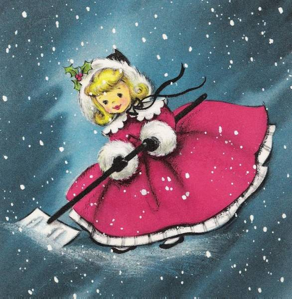 Love In The Afternoon Painting - Christmas Illustration 657 - Little Girl In The Snow by TUSCAN Afternoon