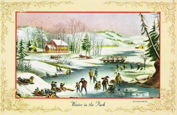 Love In The Afternoon Painting - Christmas Illustration 785 - Vintage Christmas Cards - Winter In The Park by TUSCAN Afternoon