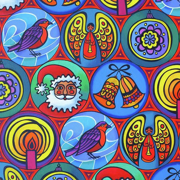 Christmas Card Painting - Christmas In Circles by Jane Tattersfield
