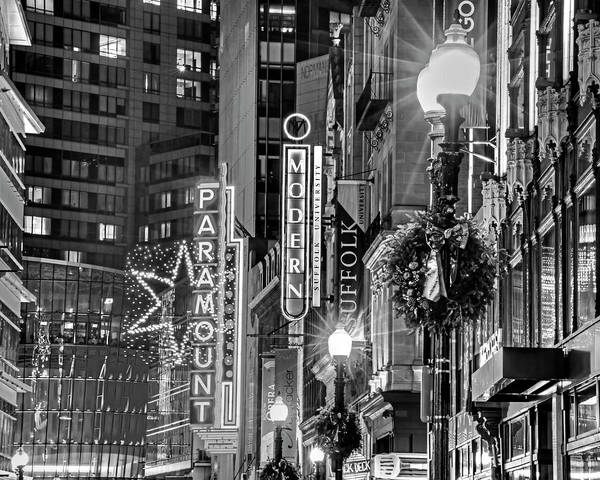 Photograph - Christmas In Downtown Boston Ma Paramounr Washington Street Black And White by Toby McGuire