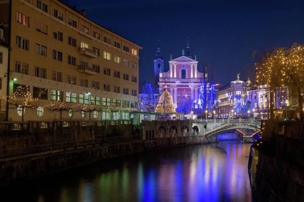 Bluehour Photograph - Christmas In Ljubljana by Blaz Gvajc