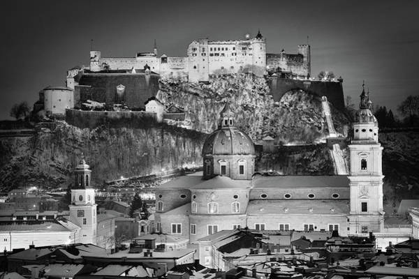 Wall Art - Photograph - Christmas In Salzburg Bw by JR Photography