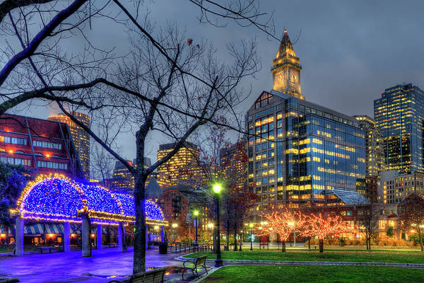 Photograph - Christmas In The North End Boston - Christopher Columbus Park by Joann Vitali