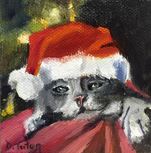 Painting - Christmas Kitten by Donna Tuten