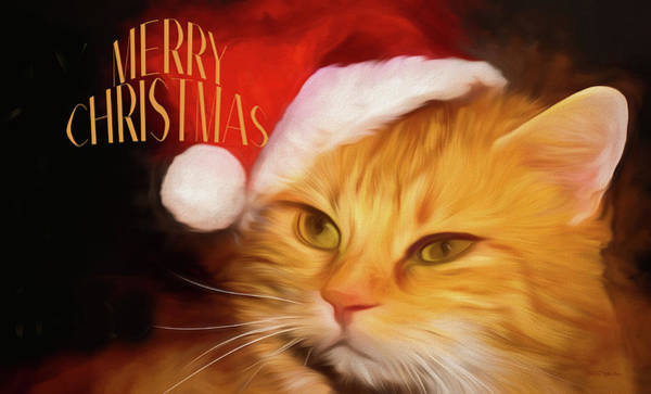 Painting - Christmas Kitty - Painting1 by Ericamaxine Price