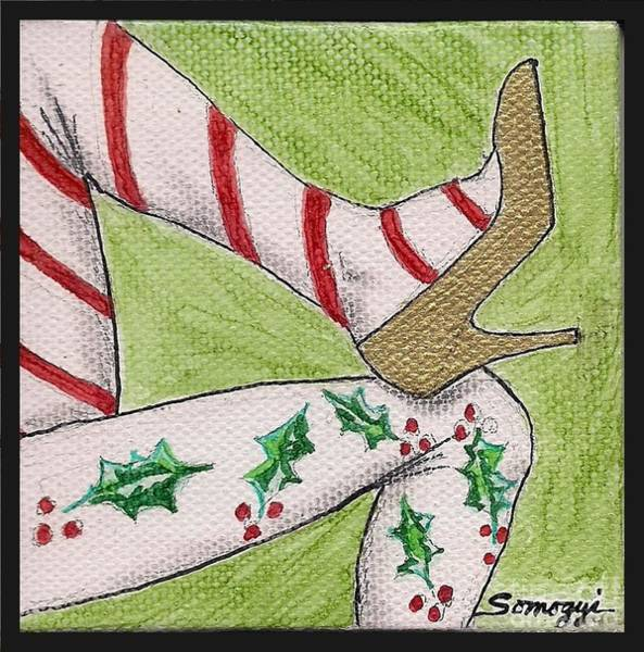 High Heels Drawing - Christmas Legs by Jayne Somogy