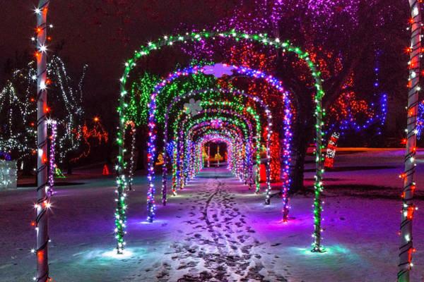 Lewiston Photograph - Christmas Light Arches by Brad Stinson