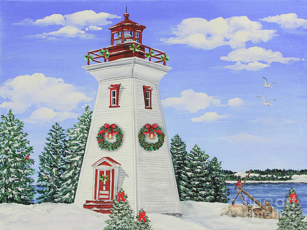 Wall Art - Painting - Christmas Lighthouse-jp3901 by Jean Plout