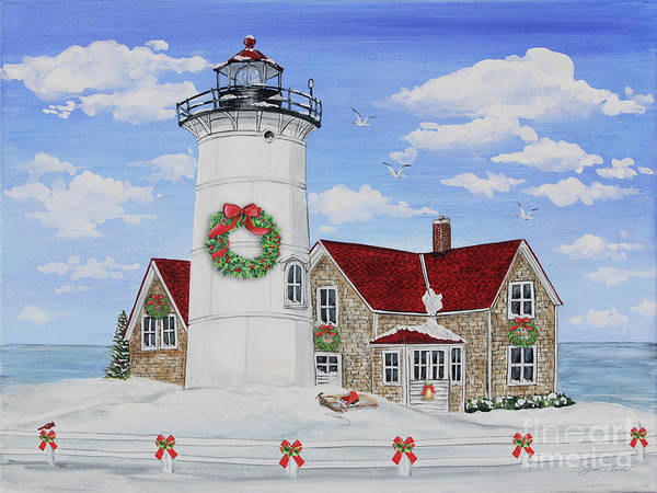 Wall Art - Painting - Christmas Lighthouse-jp3904 by Jean Plout