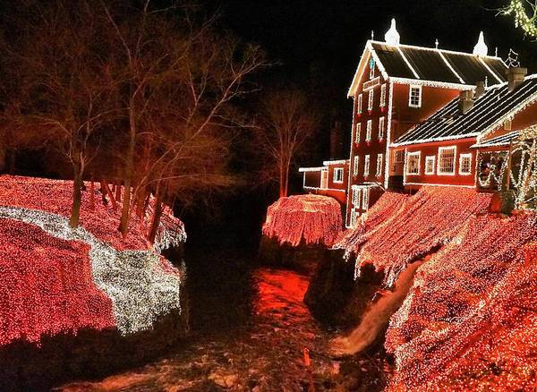Digital Art - Christmas Lights At Clifton Mill by Barkley Simpson