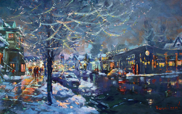 Wall Art - Painting - Christmas Lights In Elmwood Ave  by Ylli Haruni