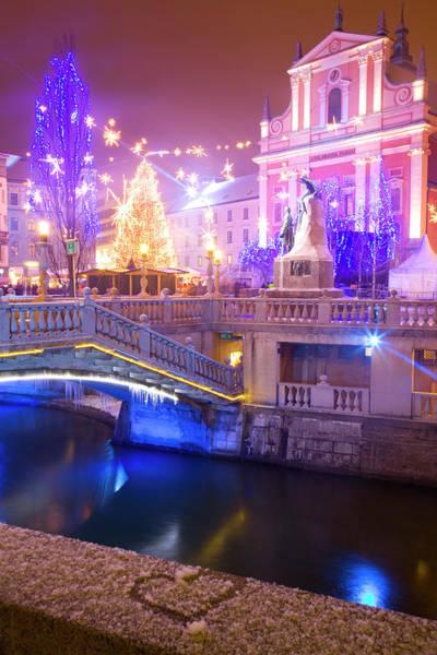 Ljubljana Wall Art - Photograph - Christmas Lights In Preseren Square In Ljubljana by Ian Middleton
