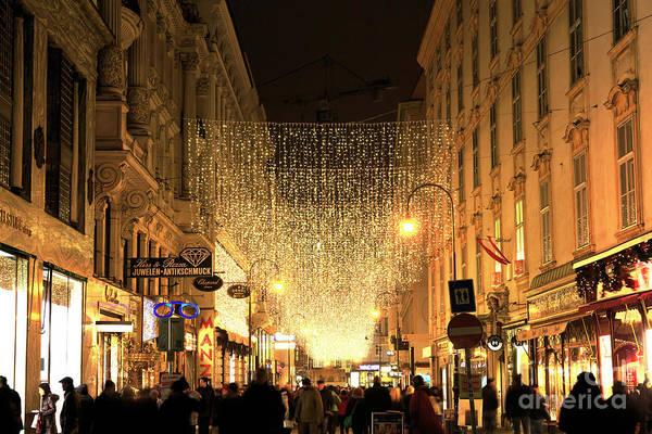 Photograph - Christmas Lights On Kohlmarkt Vienna by John Rizzuto